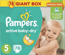 PAMPERS Active Baby 5 JUNIOR 78ks (11-18 kg) GIANT BOX PLUS - jednorazové plienky