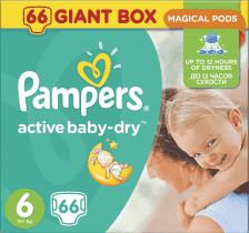 PAMPERS Active Baby 6 EXTRA LARGE 66ks (15+ kg) GIANT BOX PLUS - jednorázové pleny