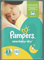PAMPERS New Baby-dry 1 NEWBORN 43 szt. (2-5kg) - pieluszki jednorazowe