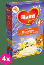 4x HAMI kaša na dobrú noc, krupicová s príchuťou vanilky (225 g) - mliečna kaša