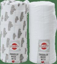 LODGER Multifunkční osuška Swaddler balení 2ks – Grey/White