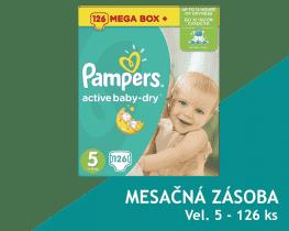 PAMPERS Active Baby 5 JUNIOR 126ks (11-18kg) MEGA Box PLUS, MESAČNÁ ZÁSOBA - jednorazové plienky
