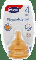 CHICCO Smoczek Physio na butelkę kauczukowy 4M+ do kaszki 2 Szt.