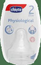 CHICCO Smoczek Physio na butelkę silikonowy 2M+ Trójprzepływowy 2 Szt