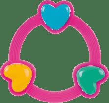 CANPOL Babies Chrastítko tři srdíčka – růžové