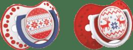 LOVI Smoczek uspokajający 2 szt., 6-18 mies., kolekcja WINTER (czerwony)