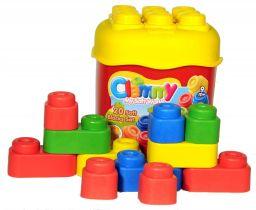 CLEMENTONI CLEMMY baby - 20 farebných kociek v kýbliku, základné farby