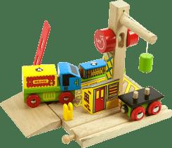 BIGJIGS Drewniane kolejki – Przeładunek kontenerów