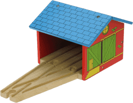 BIGJIGS Dřevěné vláčkodráhy - Depo pro dva vláčky