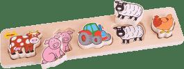 BIGJIGS Drewniane szerokie wkładane puzzle – Farma – grubość 2 cm