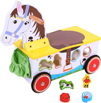 BIGJIGS Drevený motorický vozík Koník