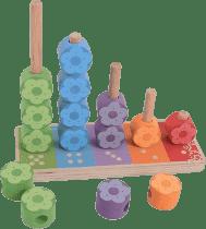 BIGJIGS Drevená motorická hračka - Nasadzovanie farebných kvetiniek