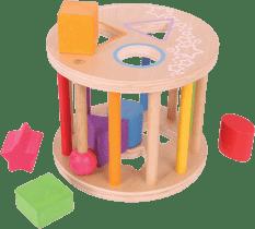 BIGJIGS Drevená motorická vhadzovací hračka - Valec s tvarmi