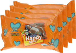 4x HAPPY MIMI Dziecięce chusteczki nawilżane 72 szt.