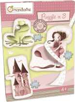 AVENUE MANDARINE Veľké puzzle 3v1 Princezné