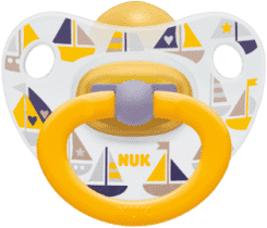 NUK žlty Cumlík Classic HAPPY KIDS, latex, veľkosť 1 (0-6m.)