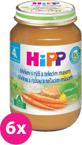 6x HIPP BIO karotka s rýží a telecím masem (190 g) - maso-zeleninový příkrm
