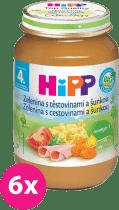 6x HIPP BIO zelenina s cestovinami a so šunkou (190 g) - mäso-zeleninový príkrm