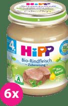 6x HIPP BIO hovädzie mäso (125 g) - masový príkrm