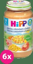 6x HIPP BIO zelenina s cestovinami a šunkou (220 g) - mäso-zeleninový príkrm