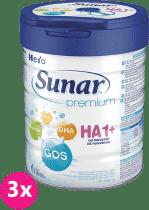 3x SUNAR Premium HA 1+, 700g – počáteční kojenecké mléko