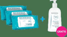 BIODERMA ABCDerm Chusteczki nawilżane 180szt. + Gel moussant 500ml
