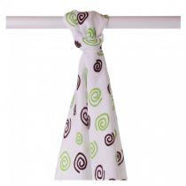 KIKKO Bambusowy ręcznik/pieluszka Spirals&Bubbles 90x100 (1 szt.) – lime spirals