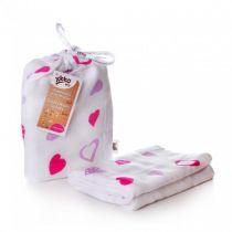 KIKKO Bambusowy otulacz Hearts&Waves 120x120 (1 szt.) – lilac hearts