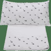 GLOOP Pościel do łóżeczka (poszewka, poszwa, prześcieradło białe) Elephants