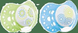 LOVI Dynamiczny smoczek uspokajający silikonowy TRENDY 3-6m 2szt. niebieski/zielony