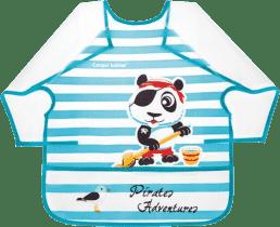CANPOL Plastový podbradník s rukávikmi Piráti 24m + - panda