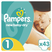 PAMPERS New Baby-dry 1 NEWBORN 43ks (2-5kg) - jednorázové plienky