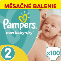 PAMPERS New Baby-dry MINI 2, 100ks (3-6kg) GIANT Box - jednorazové plienky