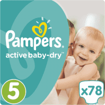 PAMPERS Active Baby 5 JUNIOR 78ks (11-18 kg) GIANT BOX PLUS - jednorázové pleny