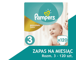 PAMPERS Premium Care 3 MIDI 120 szt. (5-9 kg) MEGA Box, ZAPAS NA MIESIĄC - pieluszki jednorazowe
