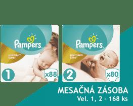 PAMPERS Premium Care 1 NEWBORN + Premium Care 2 MINI 168ks, MESAČNÁ ZÁSOBA - jednorazové plienky