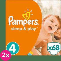 2x PAMPERS Sleep & Play 4 MAXI 68ks (7-14kg) JUMBO PACK - jednorázové plienky
