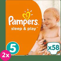 2x PAMPERS Sleep & Play 5 JUNIOR 58ks (11-18 kg) JUMBO PACK - jednorázové plienky
