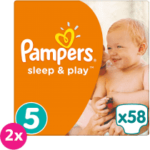 2x PAMPERS Sleep&Play 5 JUNIOR 58 szt. (11-18 kg) JUMBO PACK – pieluszki jednorazowe