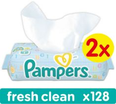 2x PAMPERS Fresh Clean S VIEČKOM 64 ks - vlhčené obrúsky