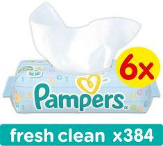 6x PAMPERS Fresh Clean 64 szt. - chusteczki nawilżane