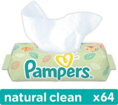 PAMPERS Natural Clean 64 ks - vlhčené ubrousky