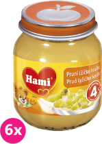 6x HAMI První lžička hruška bez cukru 125 g - ovocný příkrm