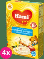 4x HAMI kaša mliečna vanilková s ovocím a ryžovými chrumkami 225g