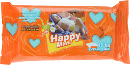 HAPPY MIMI Detské toaletné vlhčené obrúsky cestovné 15 ks