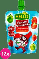 12x HELLO s jablkami a jahodami 100g - ovocný príkrm