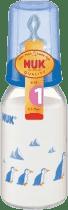 NUK Szklana butelka 125 ml smoczek R1 (silikon) – niebieska