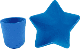PACIFIC BABY Bamboo Miska - hviezda + Hrnček modrý
