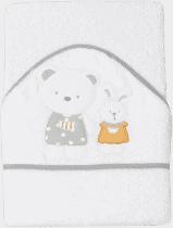 INTERBABY Ręcznik dla dziecka frotte 100x100 niedźwiadek, króliczek i domek – biały z szarą lamówką