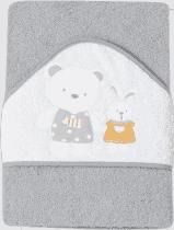 INTERBABY osuška dětská froté 100x100 medvídek, králíček a domeček - šedá